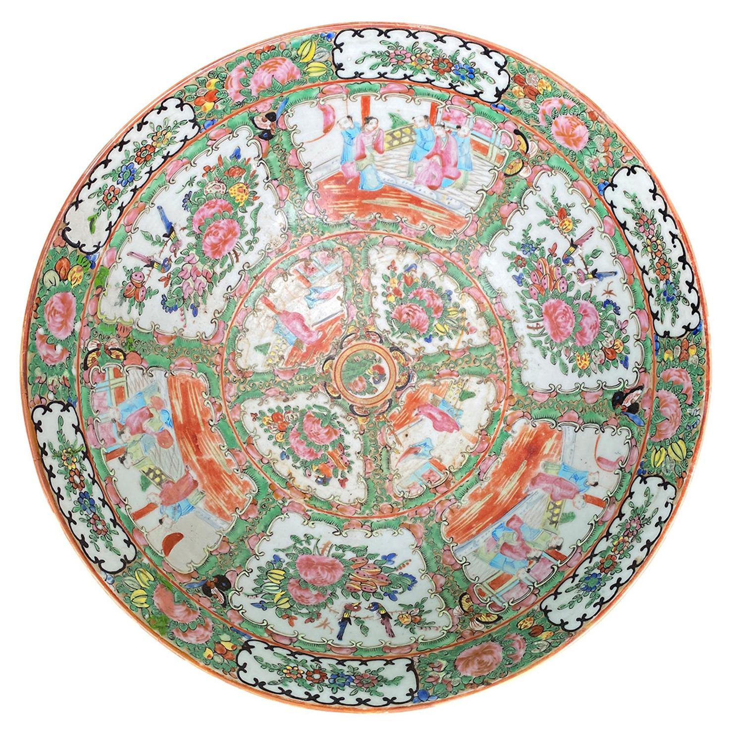19th Century Rose Medallion Porcelain Bowl, Unmarked