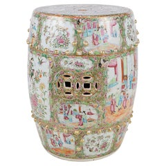 19th Century Rose Medallion Porcelain Garden Seat
