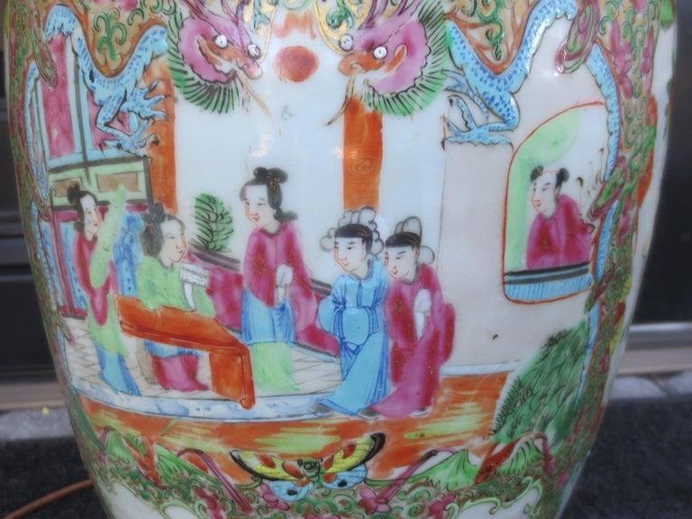 19th Century Rose Medallion Porcelain Lamp, Giltwood Base For Sale 2