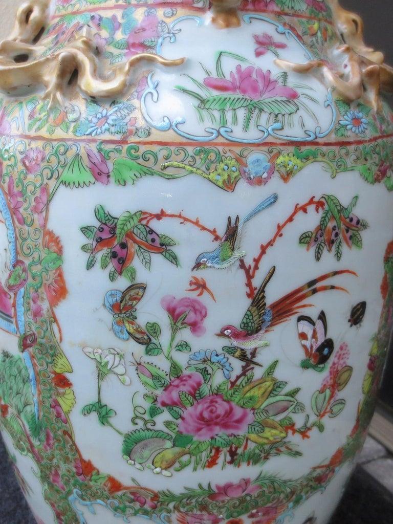 19th Century Rose Medallion Porcelain Lamp, Giltwood Base For Sale 3