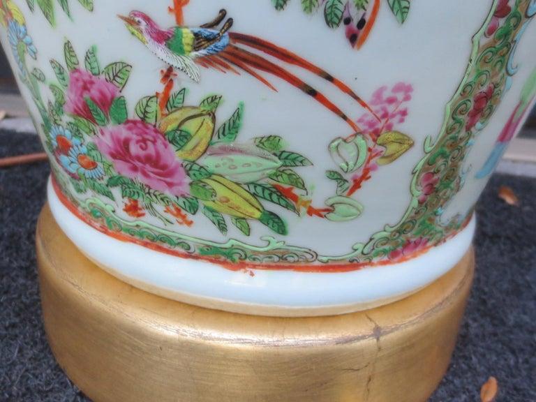 19th Century Rose Medallion Porcelain Lamp, Giltwood Base For Sale 4