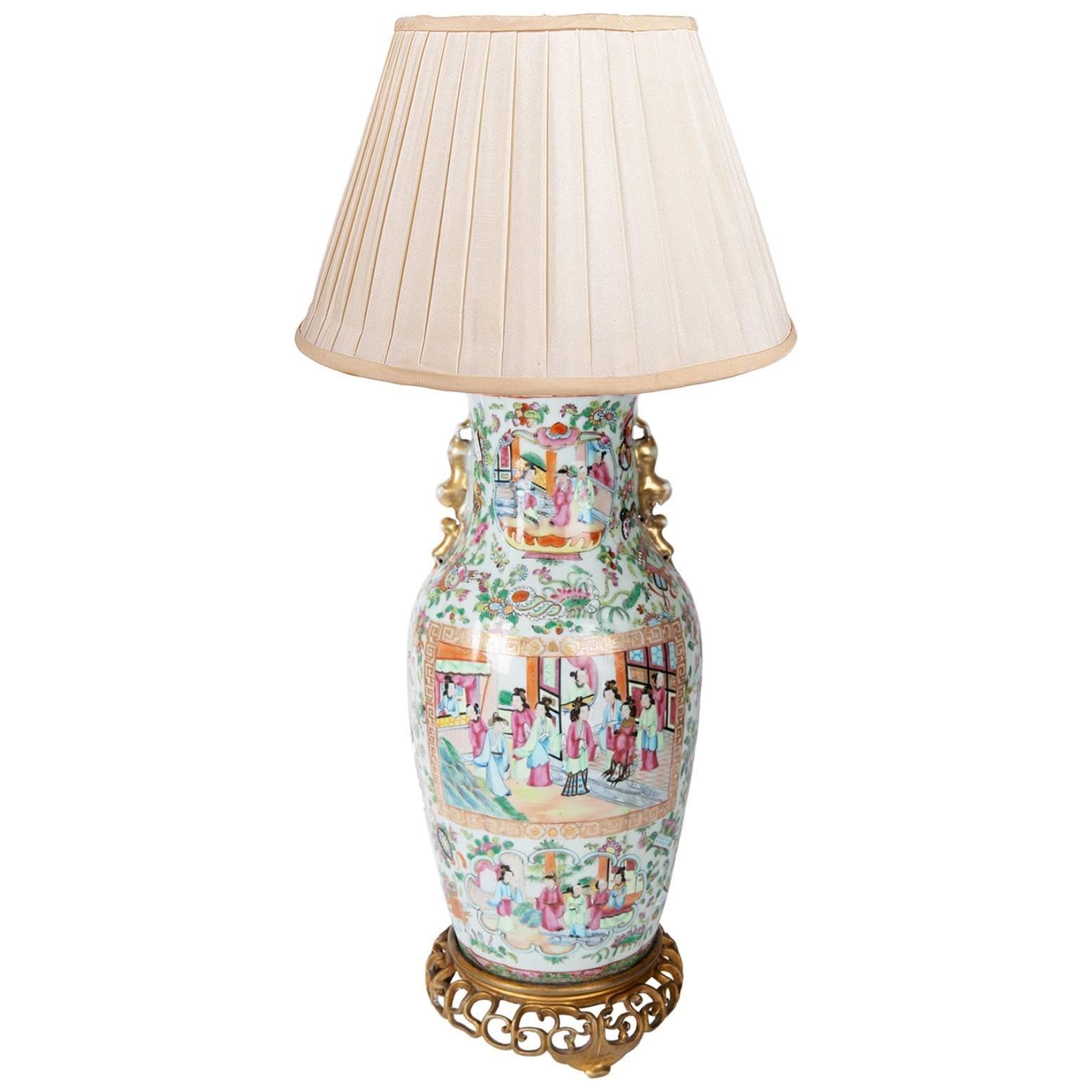 19th Century Rose Medallion Vase / Lamp