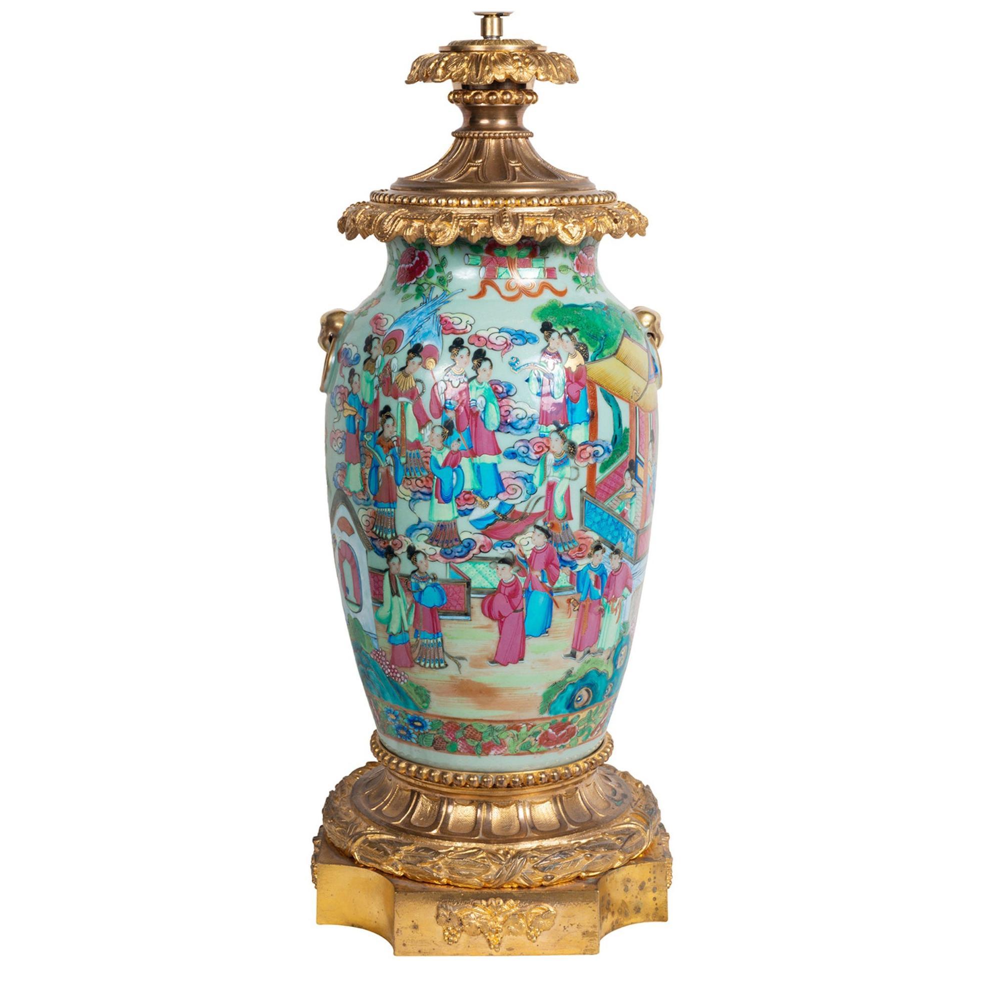 19th Century Rose Ormolu Mounted Rose Medallion Vase / Lamp