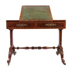19th Century Rosewood Brass-Mounted Writing Table