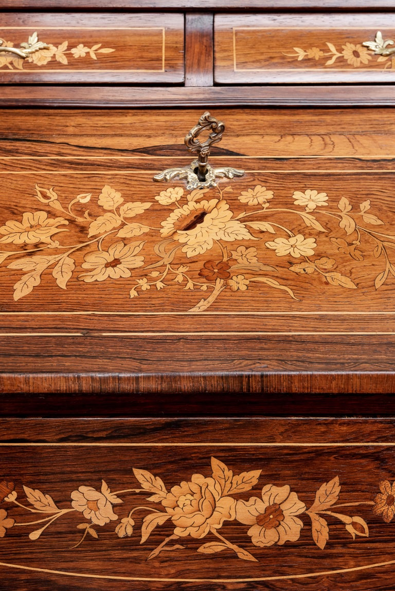 19th Century Rosewood French Louis XV Style Marquetry Bureau Desk with Secret For Sale 1
