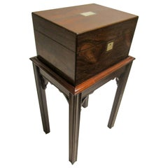 Rosewood Gentleman's Military Campaign Vanity Box with Secret Drawer