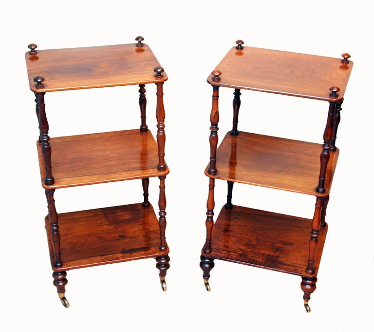 English 19th Century Rosewood Matched Pair of Small Whatnots For Sale