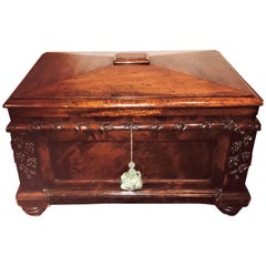 19th Century Rosewood Rococo Carved Dowry Chest Lead Lined