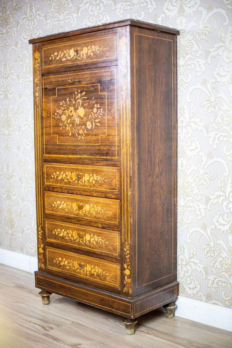 European 19th Century Rosewood Secretary Desk For Sale