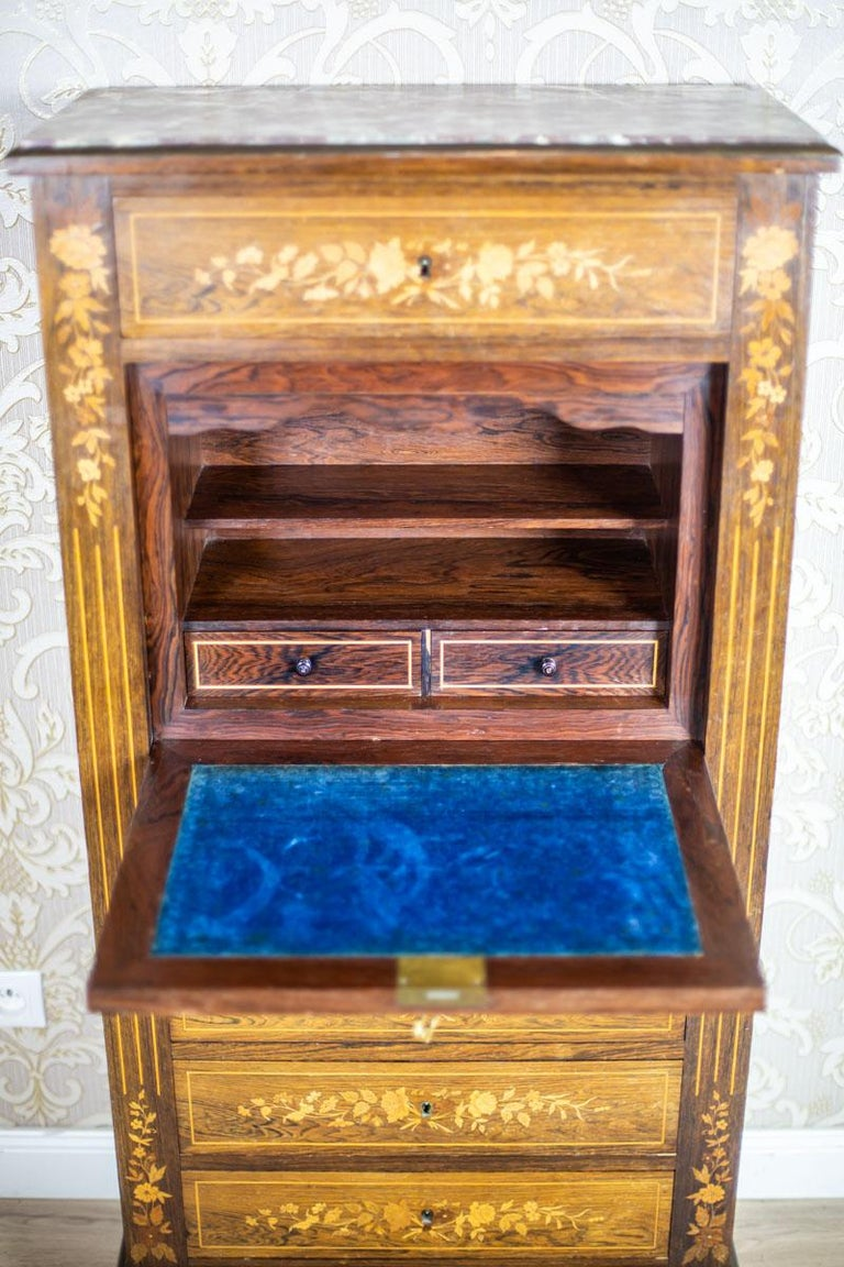 19th Century Rosewood Secretary Desk In Good Condition For Sale In Opole, PL