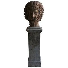 19th Century Rosso Marble Head of Zeus, Italian Decor