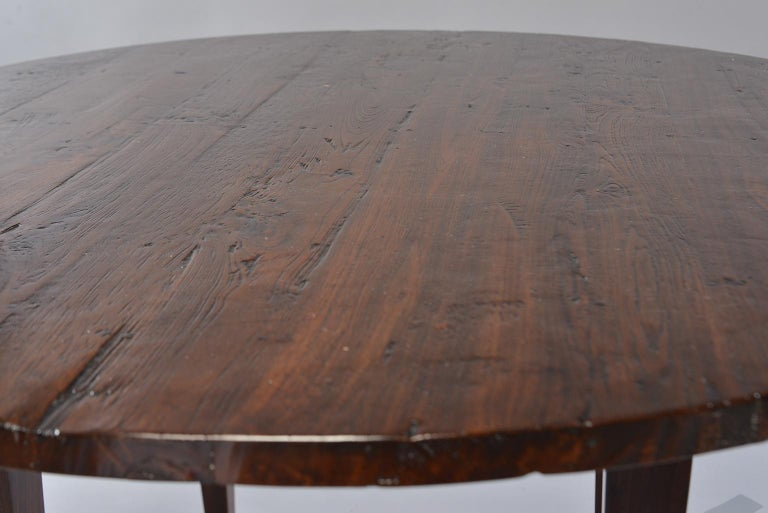 Rustic 19th Century Round Chestnut Farm Table For Sale