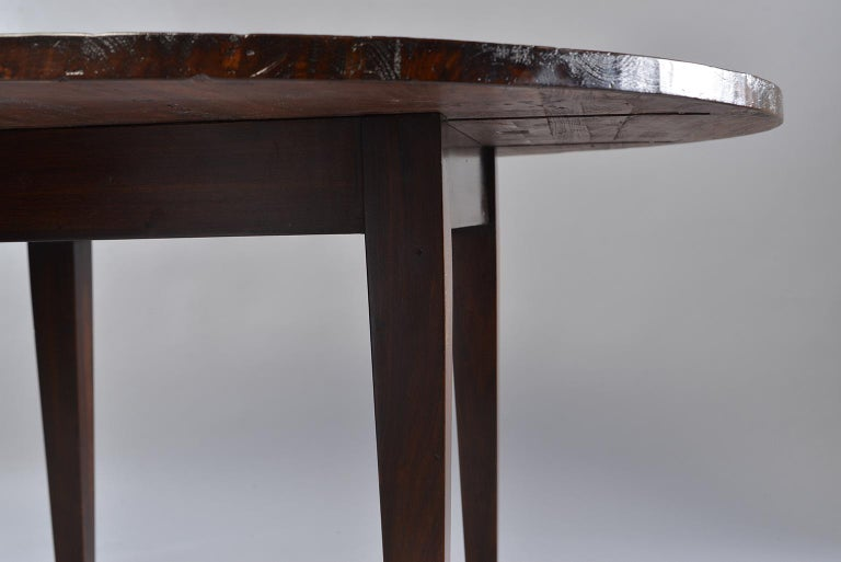 English 19th Century Round Chestnut Farm Table For Sale