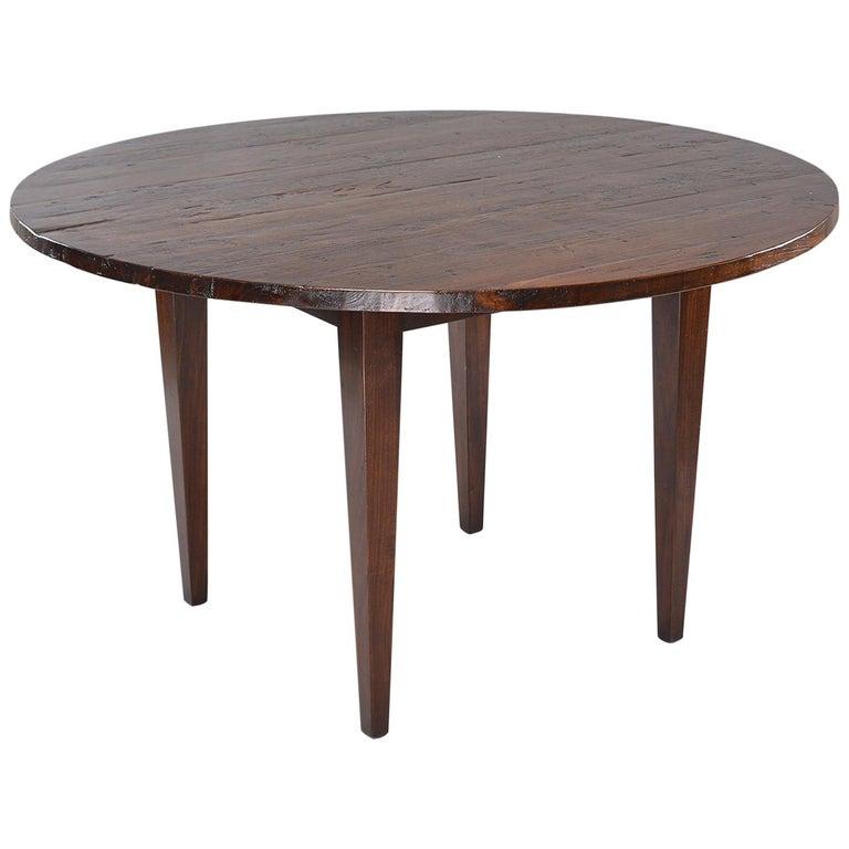 19th Century Round Chestnut Farm Table For Sale