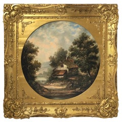 19th Century Round Landscape Oil Painting