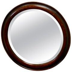 19th Century Round Oak Wall Mirror