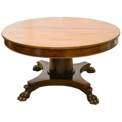 19th Century Round Regency Mahogany Dining Table with Lion Paw Feet
