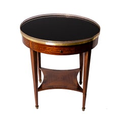 19th Century Rounded Gueridon Black Crystal Top Bronze Crown Table