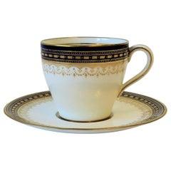 Royal Doulton White Blue Gold Coffee or Tea Demitasse Cup & Saucer, circa 19th C