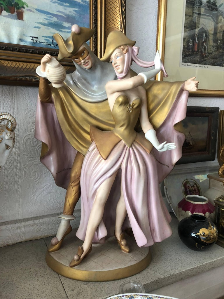 Lovely rare 50 cm height Royal Dux dancing couple figure  Limited Edition   Duxer Porzellanmanufaktur, or Dux Porcelain Manufactory, was started in 1860 by Eduard Eichler in what was then Duchov, Bohemia. The high quality pottery and porcelain