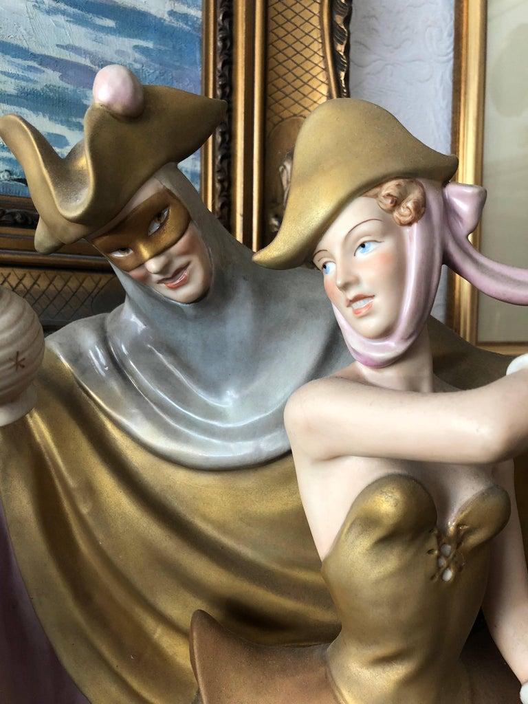 Romantic 19th Century Royal Dux Figure Dancing Couple For Sale