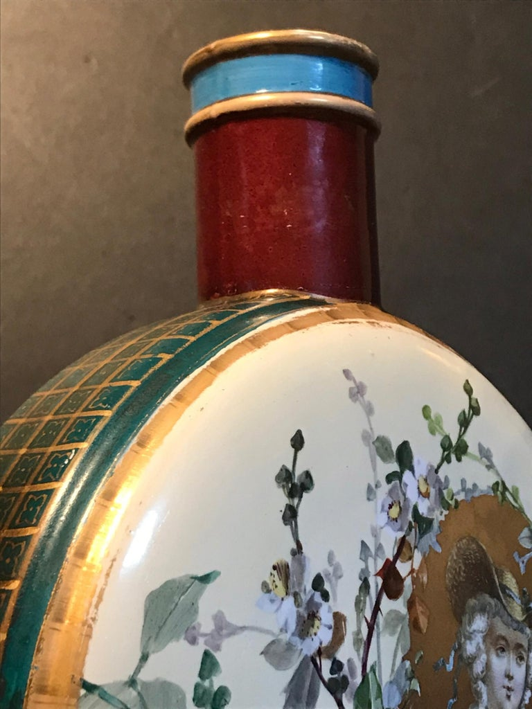 19th Century Royal Vienna Belle Époque Porcelain Moon Flask For Sale 5