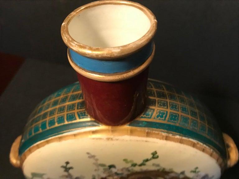 19th Century Royal Vienna Belle Époque Porcelain Moon Flask For Sale 8