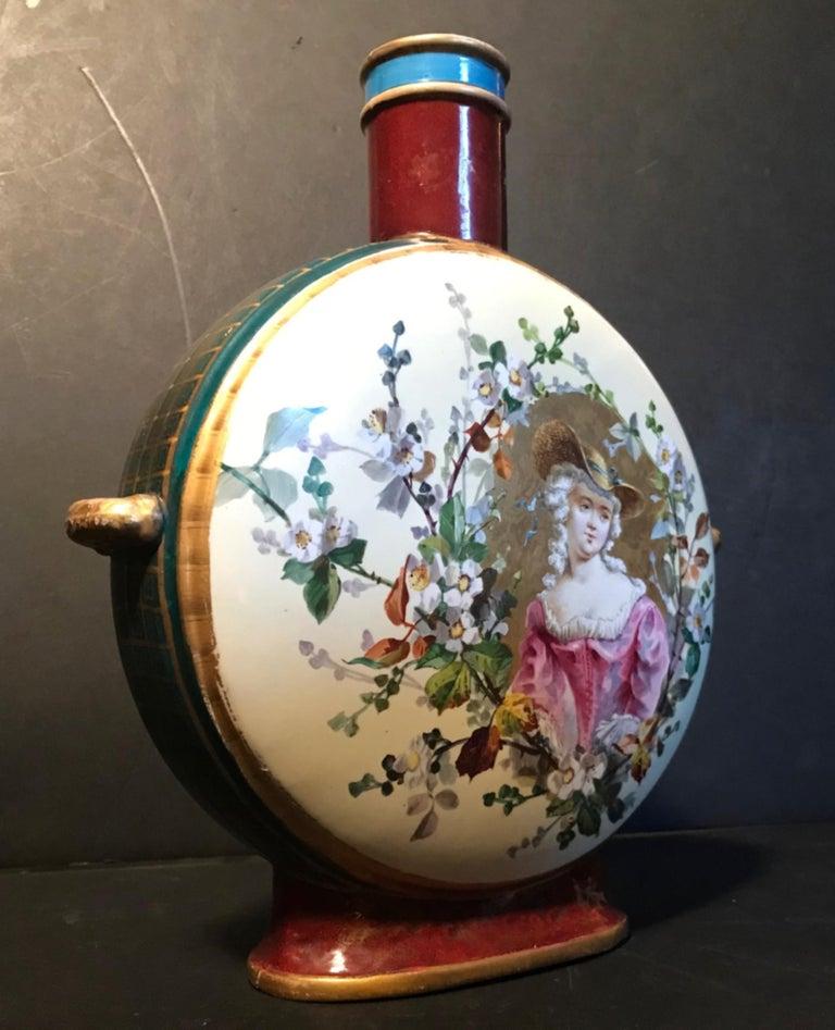 Austrian 19th Century Royal Vienna Belle Époque Porcelain Moon Flask For Sale