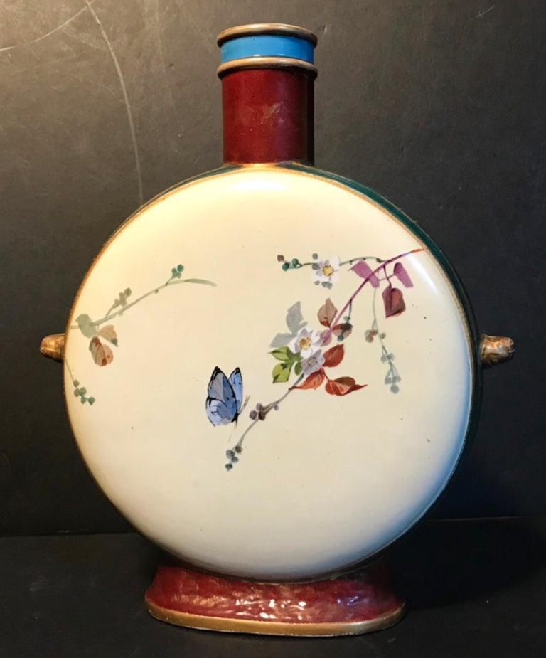 19th Century Royal Vienna Belle Époque Porcelain Moon Flask In Good Condition For Sale In Vero Beach, FL