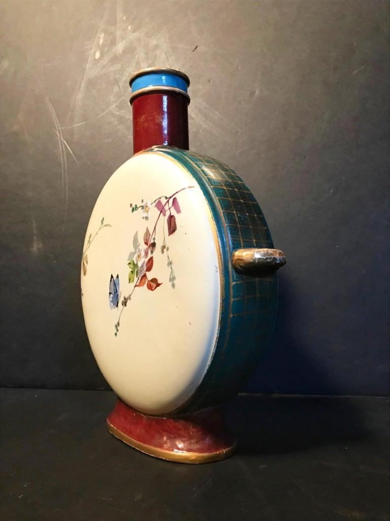 19th Century Royal Vienna Belle Époque Porcelain Moon Flask For Sale 1