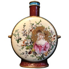 19th Century Royal Vienna Belle Époque Porcelain Moon Flask