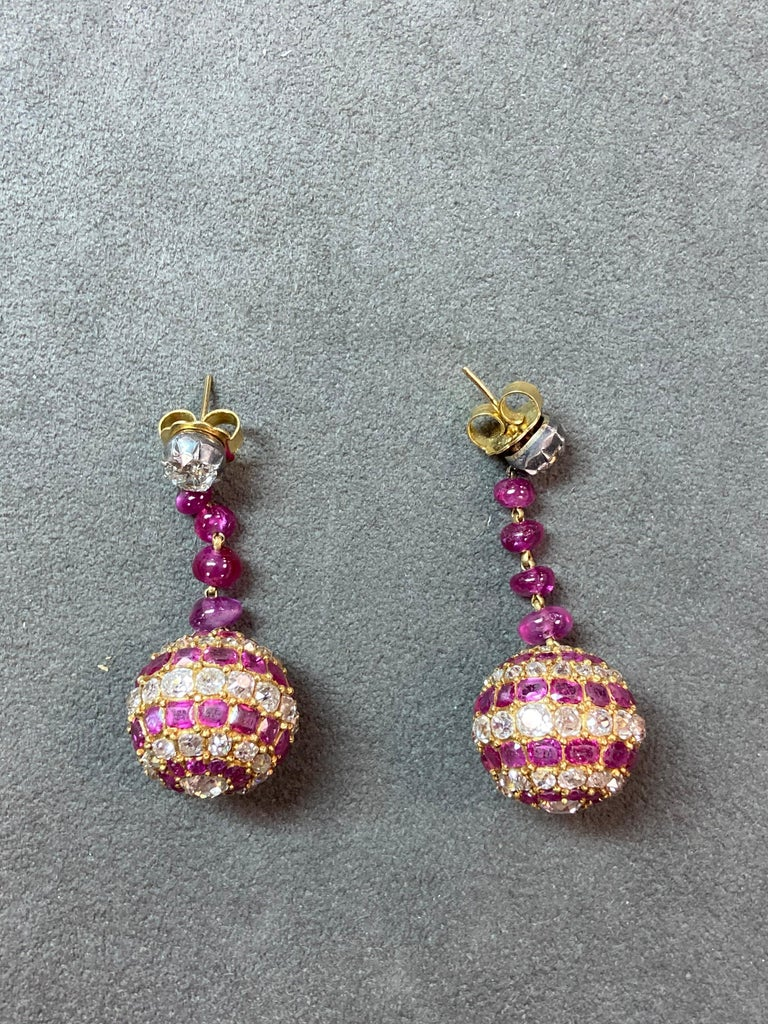 Old Mine Cut 19th Century Ruby Diamond Pendant Earrings
