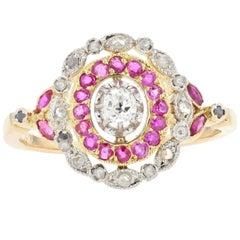 19th Century Ruby Diamonds 18 Karat Yellow Gold Ring