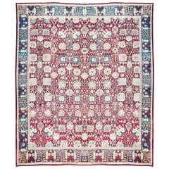 19th Century Rug, Agra India, Background Natural Elements, circa 1880