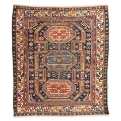 19th Century Rug from Caucasus Shirvan of Wool with Geometric Design