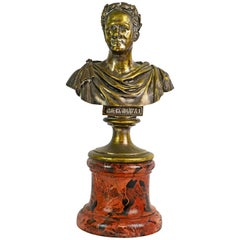 19th Century Russian Bronze Bust of Tsar Alexander I on Marbleized Column Base