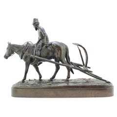 19th Century Russian Bronze, Return from the Fields by Evgeny Lanceray, 1878