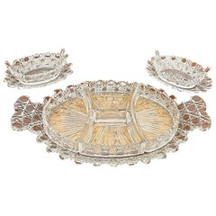 19th Century Russian Crystal Cut Set Wit Castellated Rims