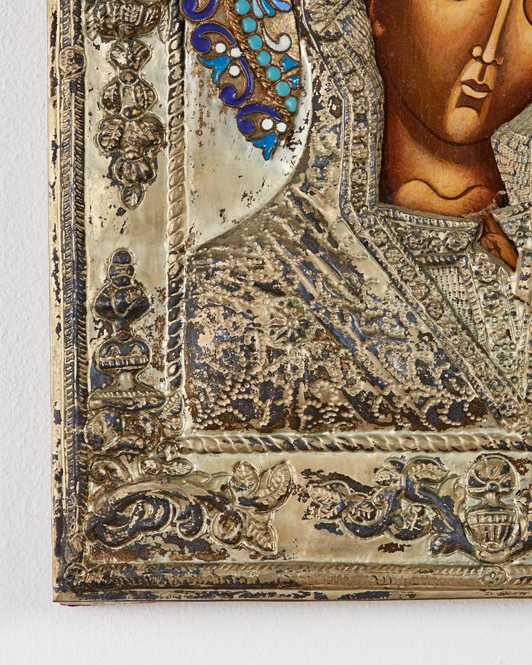 19th Century Russian Enameled Icon Madonna and Child For Sale 4