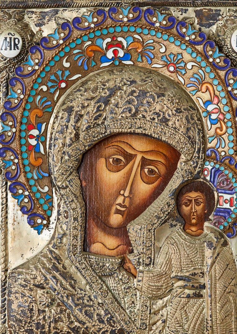 19th Century Russian Enameled Icon Madonna and Child For Sale 6