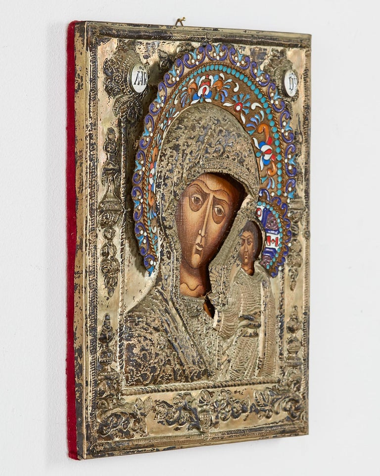 Painted 19th Century Russian Enameled Icon Madonna and Child For Sale