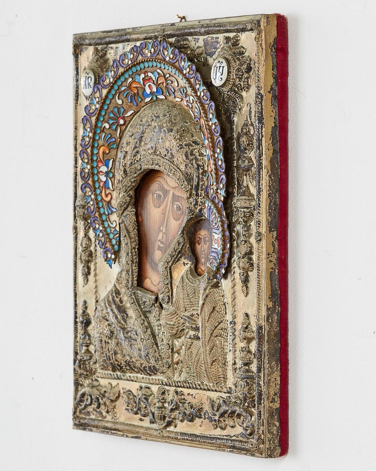 19th Century Russian Enameled Icon Madonna and Child In Distressed Condition For Sale In Oakland, CA