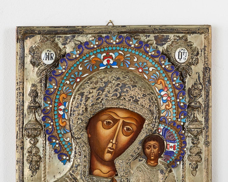 Bronze 19th Century Russian Enameled Icon Madonna and Child For Sale