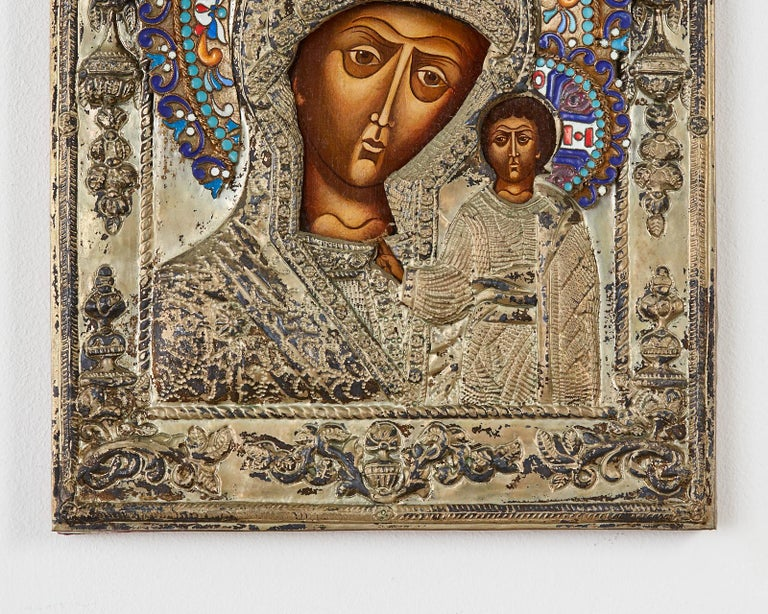19th Century Russian Enameled Icon Madonna and Child For Sale 1