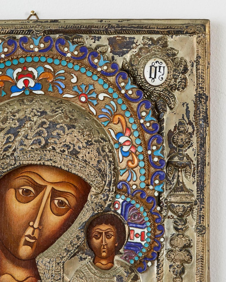 19th Century Russian Enameled Icon Madonna and Child For Sale 3