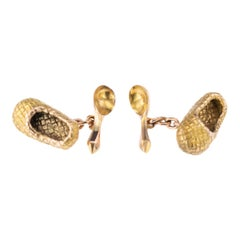 19th Century Russian Faberge 56 Gold Lapti and Spoon Cufflinks V Soloviev