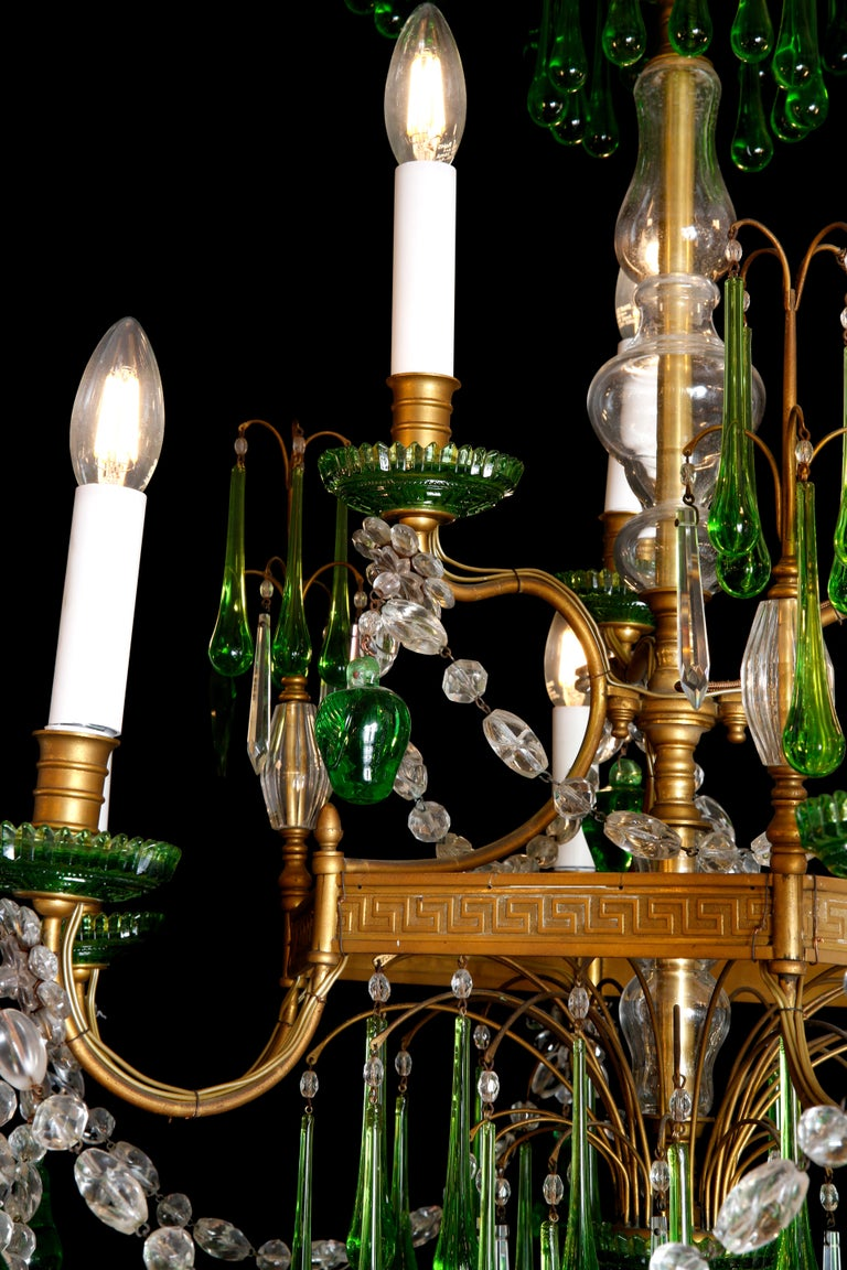 Late 19th Century 19th Century Russian Gilt Bronze and Crystal Chandelier For Sale