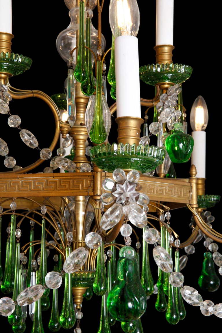 Brass 19th Century Russian Gilt Bronze and Crystal Chandelier For Sale