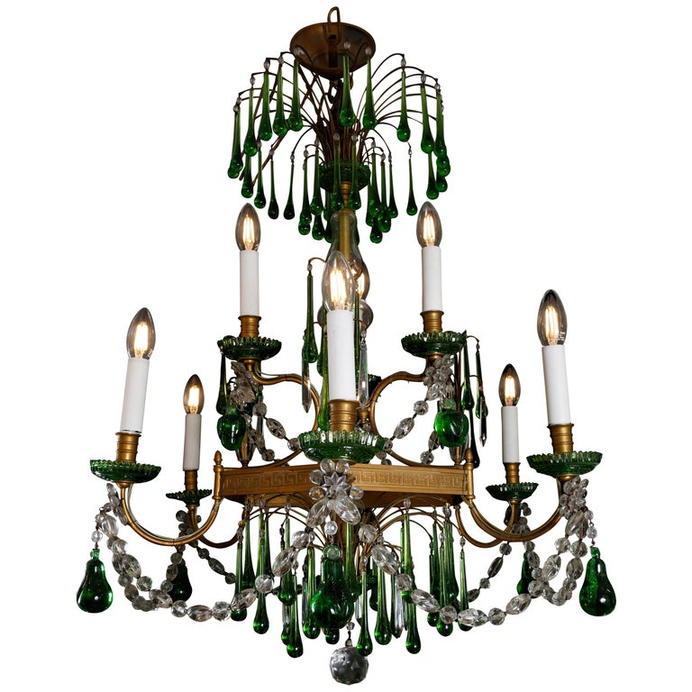 19th Century Russian Gilt Bronze and Crystal Chandelier For Sale