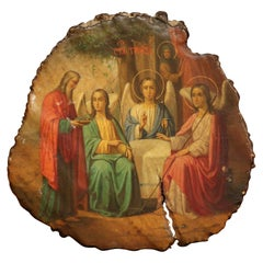 19th Century Russian Hand Painted Icon with God Abraham and Three Angels